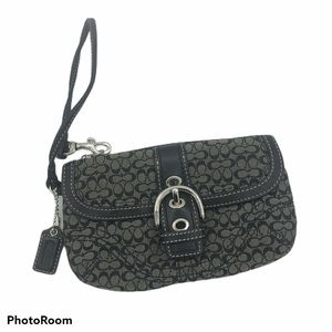 Coach C Logo Signature Black Clutch Wallet Strap